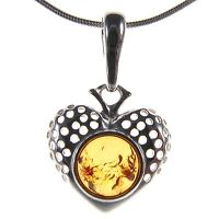 Orange Baltic Amber Sterling Silver 925 Love Heart Pendant Jewellery Jewelry