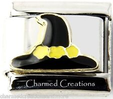 Conical Bonnet Witch Hat Halloween 9mm Italian Charm Stainless Steel Link