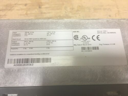 Drives & Motor Controls ACH550-UH-017A-2 ABB Variable Frequency ...