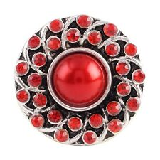 Button Click Druckknopf 8505 Rot Kristall Perle - kompatibel Chunk Armband