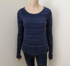 NEW Hollister Womens Knit Shine Sweater Size XS Crochet Lace Back Navy Blue