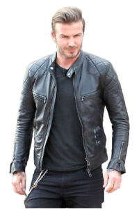 Men/'s Real Lambskin Leather Jacket Biker Motorcycle Style Slim Fit Coat Black DD