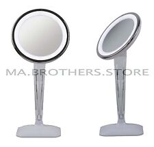 Vanity Makeup Mirror LED Lighted Tabletop Chrome Magnifying Cosmetic Glamour New