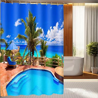 Beach Seaside Bath Curtains Decor Outdoor Nature Fabric Shower Scenery WG08