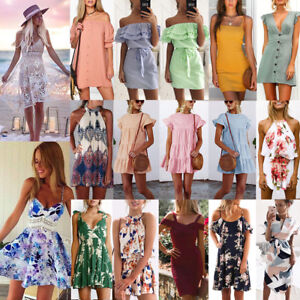 8706d0dd533a Image is loading Women-Summer-BOHO-Short-Maxi-Dress-Evening-Cocktail-
