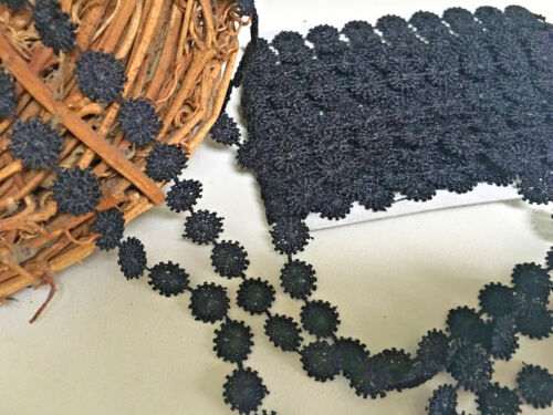 """~Bows Ribbon and Lace~10mm//3//8/"""" Black Miniature Guipure Daisy Chain Lace Trim"""