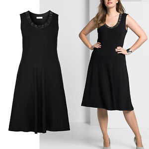 wow-elegant-Gr-44-46-Jerseykleid-Kleid-Shirtkleid-schwarz-Sommerkleid-Perlchen