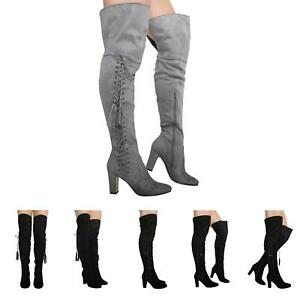 NEW-WOMENS-LADIES-LACE-UP-BLOCK-HIGH-HEEL-OVER-KNEE-BOOTS-SHOES-SIZE-3-8