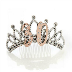 30TH-Rose-Gold-amp-Silver-Tiara-w-Diamantes-Perfect-for-Glamorous-Birthday-Outfit