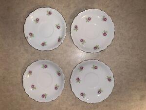 "(4) Vintage Petite Roses 5 1/2"" Saucers"
