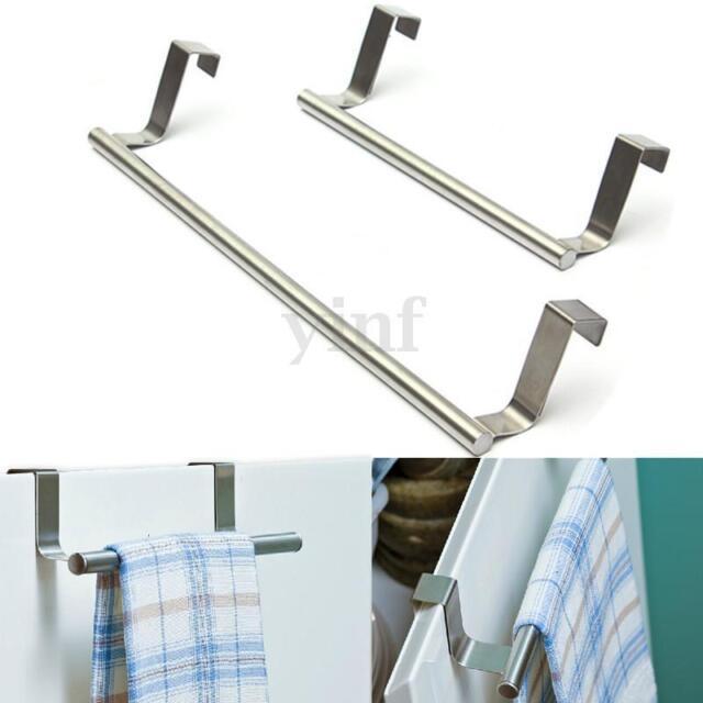 Over Door Tea Towel Holder Rack Bathroom Rail Cupboard Hanger Kitchen Bar Hook
