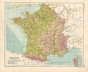 Bordeaux Francia Cartina.1891 Vittoriano Mappa Francia Normandia Guienne Rosso Bordeaux Lorraine Ebay