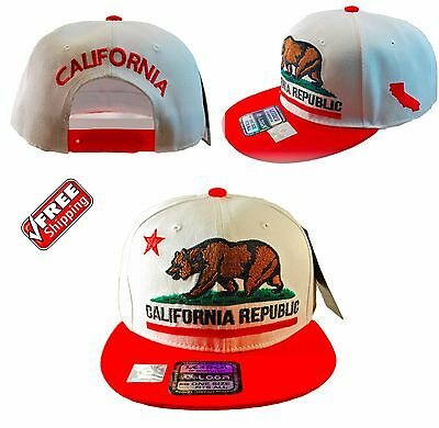 CALIFORNIA REPUBLIC HAT EMBROIDERED FLAT BILL SNAPBACK CAP HAT WHITE WITH RED
