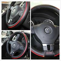 Jdm Steering Wheel Wrap Cover Perforated Black Leather W Red Stripe Diy 87013e