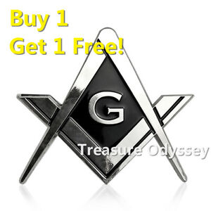 Details about Masonic Silver Metal Auto Emblem Bumper Decoration Badge  Freemasonry Collectible