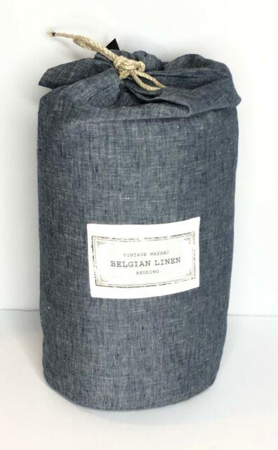 Restoration Hardware Vintage Washed Belgian Linen Duvet Cover King Indigo 339