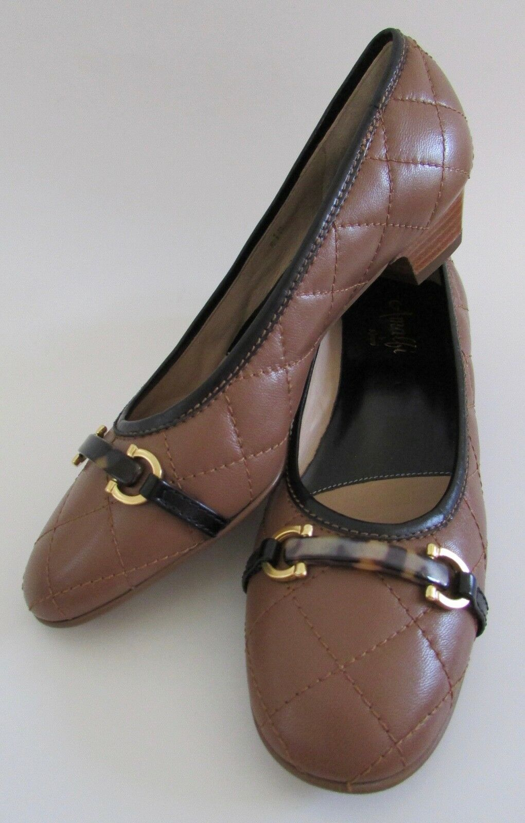 Amalfi by Rangoni Italy Quilted Leather Tortoise Horsebit Ballet Pumps Sz Sz Pumps 8.5 65032a