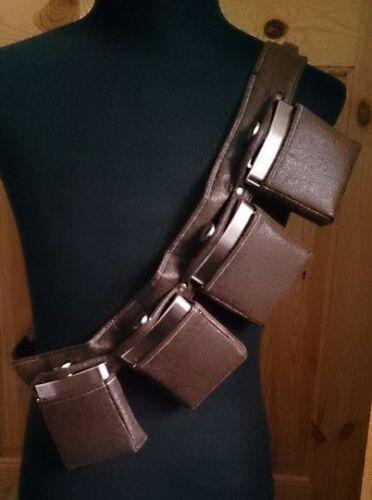 4 Pochette Hip Flask Cartouchière ceinture en cuir synthétique LARP Steampunk Gin