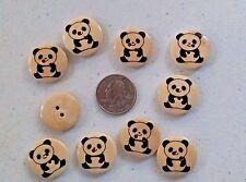 """Pkg of 10 PANDA 2-hole Wooden Buttons 7/8"""" (23mm) Scrapbook Doll Craft (4382)"""