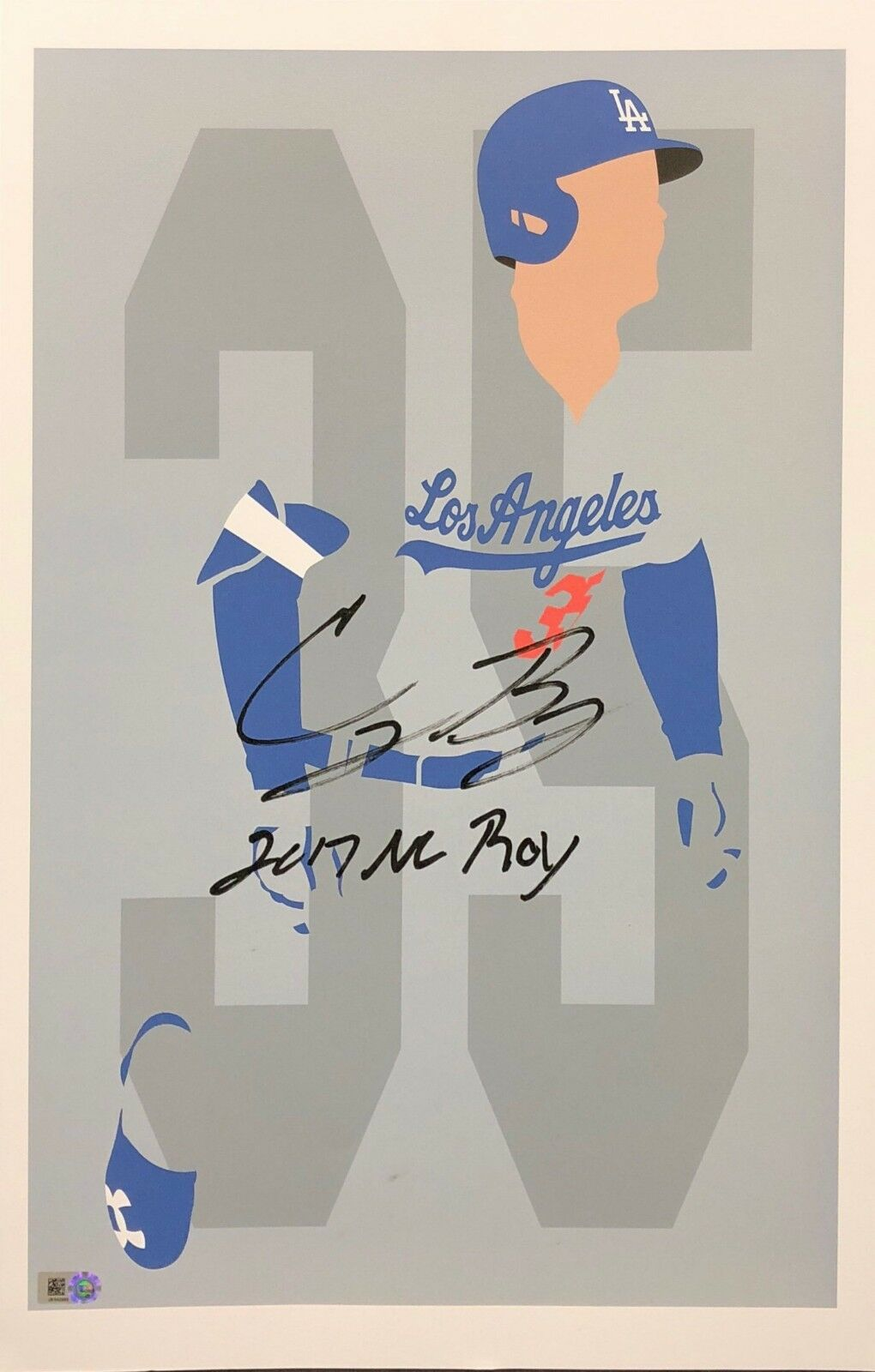 Cody Bellinger Signed Los Angeles Dodgers Baseball 11x17 Print