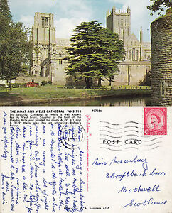 1963-THE-MOAT-amp-WELLS-CATHEDRAL-WELLS-SOMERSET-COLOUR-POSTCARD
