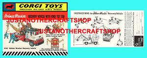 Corgi-Toys-1142-Holmes-Wrecker-Ford-Cab-instrucciones-Folleto-amp-Poster-cartel-de-tienda