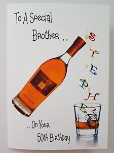Personalised birthday card whiskey brother 50th dad son in law image is loading personalised birthday card whiskey brother 50th dad son bookmarktalkfo Gallery