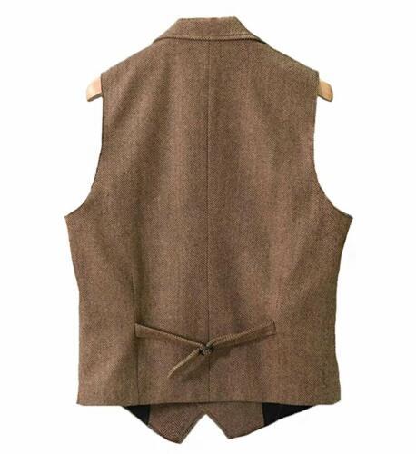 Mens Brown Tweed Waistcoat Herringbone Vintage Vest Groomsmen Notch Lapel S-3XL+