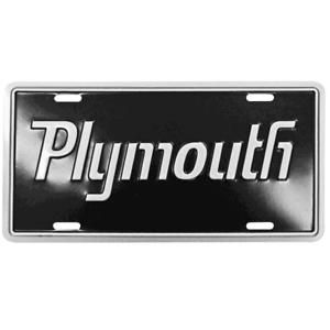 Plymouth License Plate With A Black Background With Silver Lettering And Bo Ebay