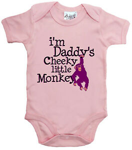 """Dirty Fingers """"I'm Daddy's Cheeky Little Monkey"""" Baby Bodysuit Baby grow Gift"""