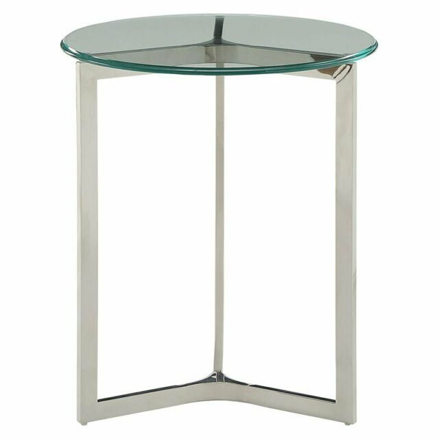 Acme Volusius 20 Round Glass Top End Table In Clear For Sale Online