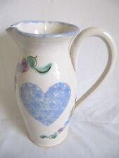 RARE JUDY GOODWIN SIGNED ART POTTERY LARGE PITCHER BLUE HEART