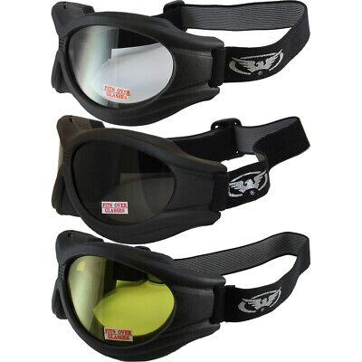 Big Ben Black Frame Motorcycle Goggles with Shatterproof Smoke Lenses
