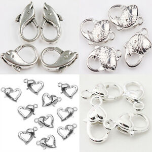 5-20Pcs-Silver-Plated-Large-Heart-Shape-Lobster-Claw-Clasps-Crafts-DIY