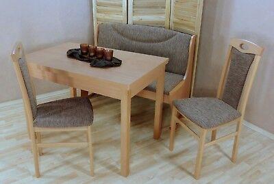 Essgruppe 4 tlg. Stühle Stuhl Bank Esszimmer Tisch Esstisch