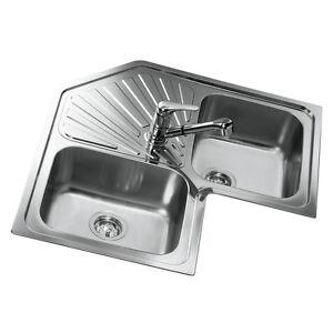 Eckwaschbecken küche  Teka Eckspüle 2 Becken Edelstahl Spüle Küchenspüle Einbauspüle ...