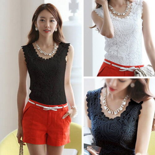 Lace Top Sleeveless T-shirt Vest Camisole Blouse Tee Tops Tank Black