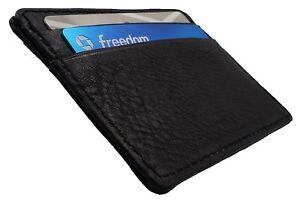 AG Wallets Mens Black Leather Minimalist Front Pocket Cash Card Holder Wallet