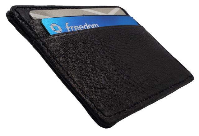 172fcfd921c5 Men Genuine Leather Black Slim and Thin ID Credit Card Money Holder Wallet  120