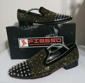 the latest ca3b8 2d356 Details about Fiesso mens shoes Leather Size 14 Black Gold Spikes Red  Bottom Prom