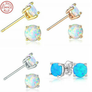 Opal-Earrings-Stud-Gold-Silver-Round-14k-White-Sterling-Yellow-Genuine-925-Fiery