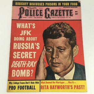 VTG Police Gazette Magazine November 1961 Pres. John F. Kennedy Cover, Newsstand