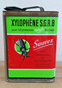 Ancien-Bidon-Vide-Xylophene-S-G-R-8-Protection-Bois-Insecte-Vintage-Publicitaire
