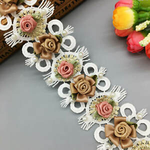 1yd-Flower-Pearl-Lace-Edge-Trim-Wedding-Ribbon-Embroidered-Applique-Sewing-Craft