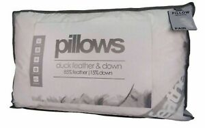 Duck-Feather-Down-Pillow-Pair-Pack-Of-2-amp-4-Anti-Allergy-Medium-Support-15-Down