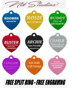 Pet-ID-Name-Heart-Tag-Tags-Laser-Engraved-Dog-Cat-Customised-and-Personalised