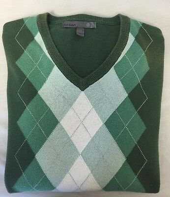 Men's Green Argyle Old Navy Long Sleeve V-Neck Top 100% Cotton Sweater Small