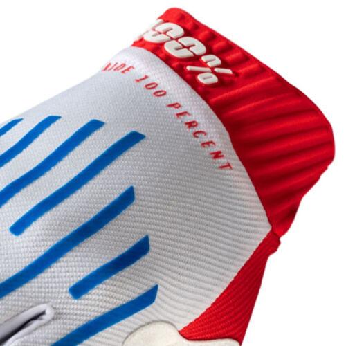 BLUE RED 2020 100/% RIDEFIT MOTOCROSS MX MTB BIKE GLOVES WHITE