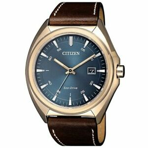 Citizen Eco-Drive Men Metropolitan Blue Dial Leather Band 41mm Watch AW1573-03L