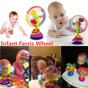 Baby Kid Infant Toys Rainbow Ferris Wheel Rattle Clanking Suction High Chair Toy